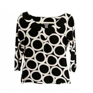Ann Taylor black and white 3/4 sleeve top M